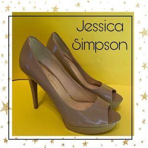 Jessica Simpson Beige Patent Platform Heels 8.5M